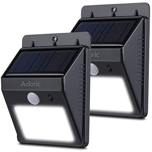 Adoric Solar Lights, 2 Pack 8 LED Waterproof Motion Sensor