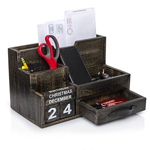 Amazon.com: Beige Vintage Style Postcard Design Wood Mail ...  Desktop Mail Organizer For Kitchen